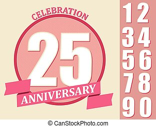 Anniversary Design set, Template celebration sign - 25th...
