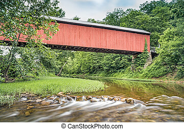Below Hune Covered Bridge - Ohios historic red Hune Covered...