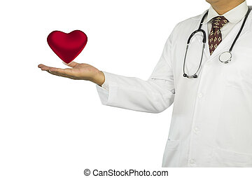 close up of medical doctor hands with heart