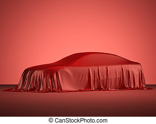 Racing car covered with red cloth - Presentation of modern...