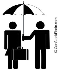 man holding umbrella for woman holding briefcase or bag