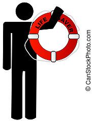 man holding life preserver - man holding red and white life...