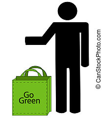 person with recycleable bag that says go green