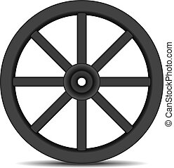 Wheel in black design with shadow - Vintage wooden wheel in...