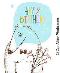 Happy Birthday Bear Greeting Card with Flowers