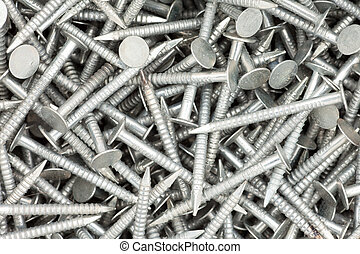 Nails background texture - Heap of galvanized ringshaft...