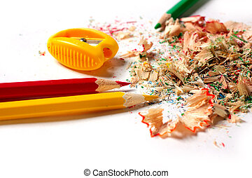 pencil sharpener with shavings and a set for drawing