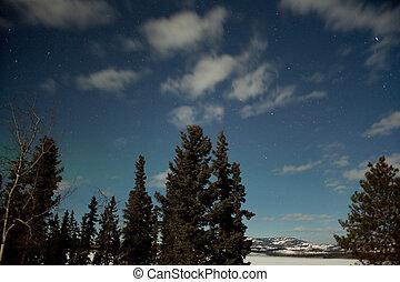 Moon light and faint aurora borealis northern lights - Moon...