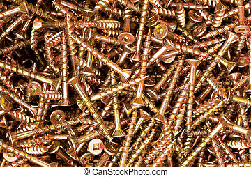 Deck screws background texture - Heap of coated steel deck...