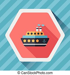 Transportation ferry flat icon with long shadow,eps10