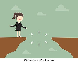 cliff - Business woman in front of a gap