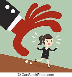 Escape, businessman trying to run away from hand