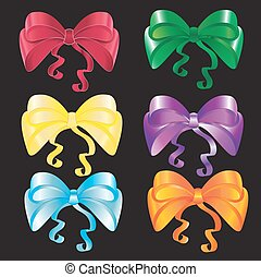 Set of bows in different colors