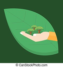 go green hand holding plant tree leaf environment concept illustration