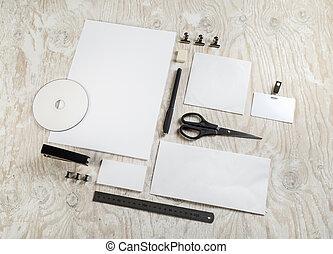 Blank stationery mockup - Photo of blank stationery on light...
