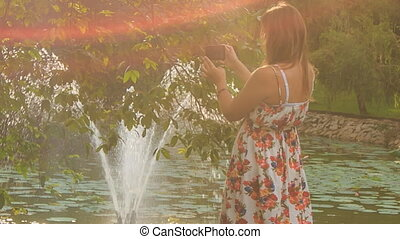 Backlight Backside Blond Girl Photos Fountain behind Tree -...