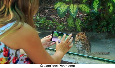 Backside Blond Girl Takes Photo of Wild Cat in Zoo Window -...