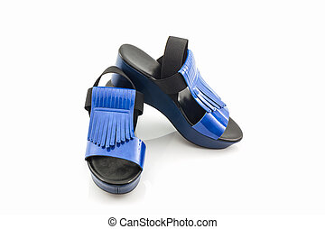 Blue women shoes - Blue women shoes on white background