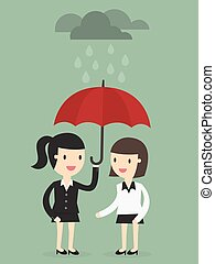 Protection - business woman with umbrella protects another...