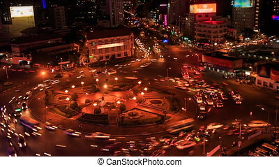 Night Traffic Lights to-and-fro around Circle from...