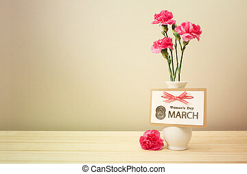 Womans day March 8th card with carnations - Womans day March...
