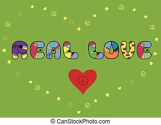 Inscription Real love Colored Letters Vector Illustration