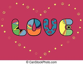 Inscription Love Colored Letters Vector Illustration