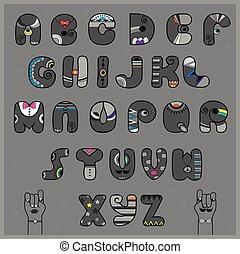 Hipster Alphabet. Funny gray letters with bright parts....
