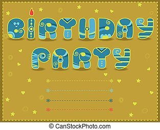 Inscription Birthday Party Funny blue and yellow Letters...