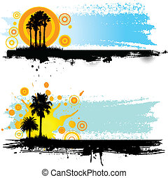Summer grunge themed backgrounds with palm tree silhouettes
