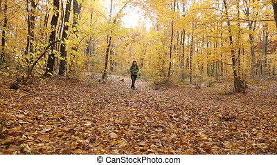 girl throwing leaves - Girl throwing leaves in the autumn...