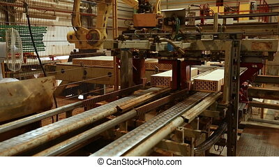 Brick production View of conveyor and machines - Brick...
