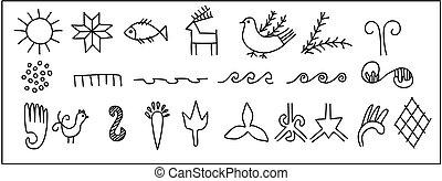 Ancient Slavic symbols. - Ancient petroglyphic symbols of...