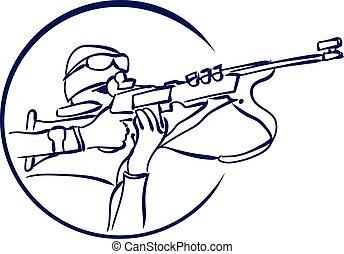 vector biathlon logo - Biathlon logo. Vector stock...