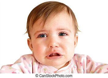 Crying baby girl close-up - Crying little baby girl with...