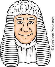 Cartoon old judge in white wig and collar Law profession,...