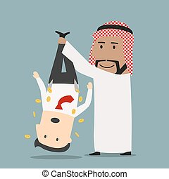 Arab businessman shaking out money - Sly smiling cartoon...