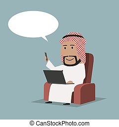 Arab businessman with laptop and smartphone - Cartoon...