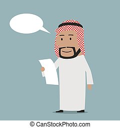 Pensive arab businessman reading contract - Pensive smiling...