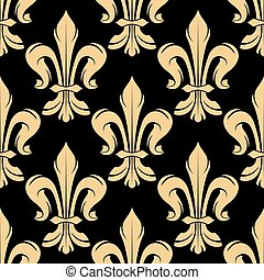 Black and golden fleur-de-lis pattern