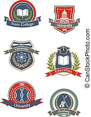College, university, school and academy signs or icons...