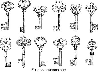 Vintage keys sketches in engraving style - Ornamental...