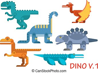 Prehistoric dinosaurs of jurassic period - Colorful...