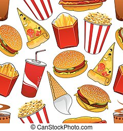 Fast food and drinks seamless pattern - Fast food dinner...