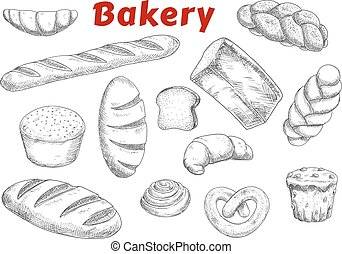 Bakery sketches with bread and pastry - Bakery and pastry...