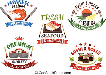 Sushi and seafood menu elements - Sushi and seafood elements...