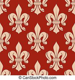 French floral seamless fleur-de-lis pattern