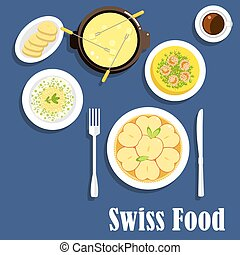 Swiss cuisine dishes and cheese fondue - Swiss national...