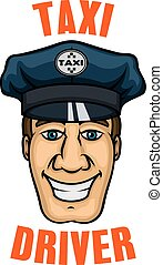 Taxi driver in uniform peaked cap - Cheerful smiling taxi...