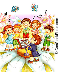 children that sing - colored illustration of children that...